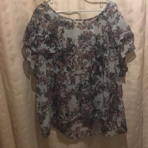 Sage green floral top